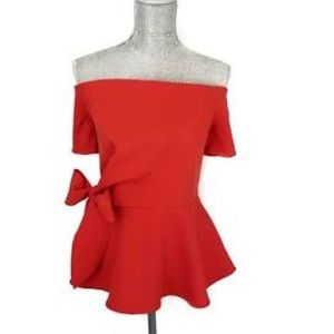 RED OFF SHOULDER PEPLUM TOP WITH SIDE BOWFOREVER S
